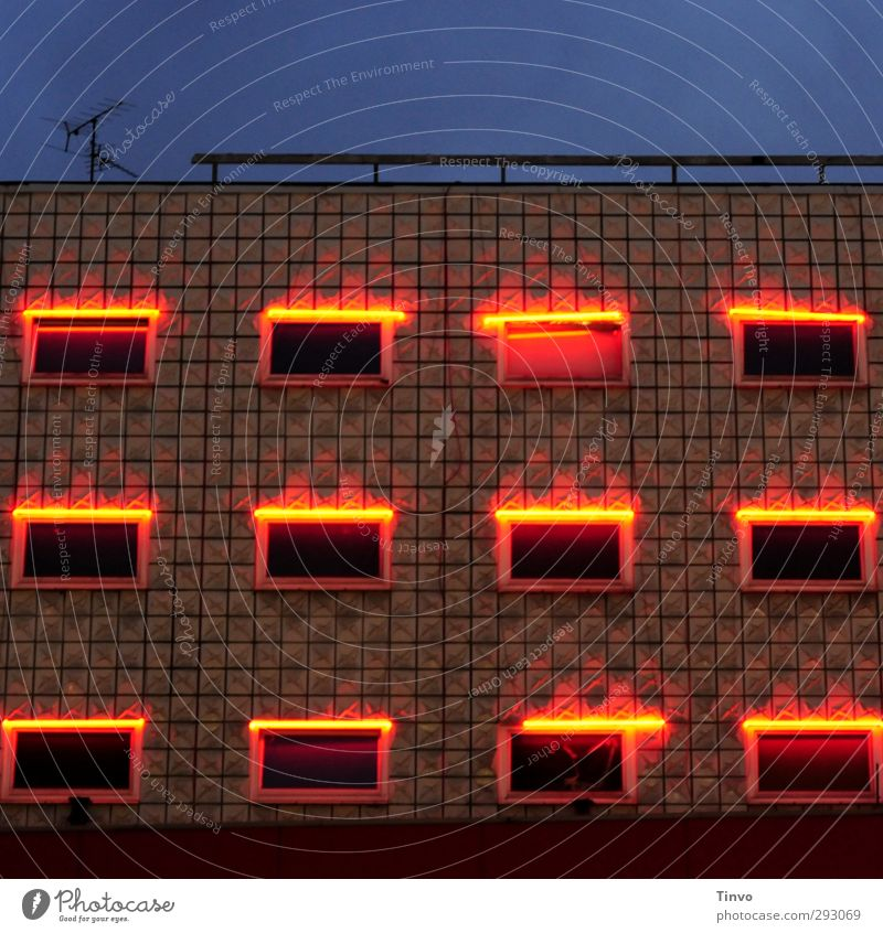 illuminated windows of a studenhotel Town House (Residential Structure) Building Architecture Facade Window Illuminate Dark Blue Brown Red Red-light district