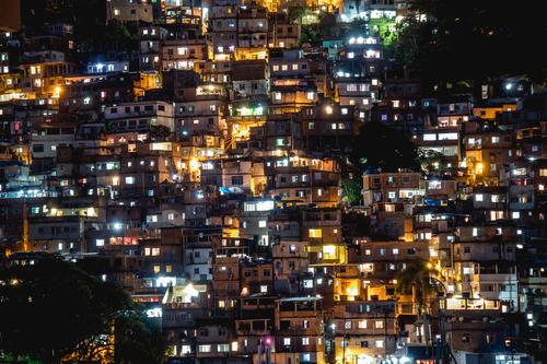 favelas Town Yellow Gold Green Black White Dark Light Poverty Brazil Rio de Janeiro Illuminate Long exposure Window Colour photo Deserted Night