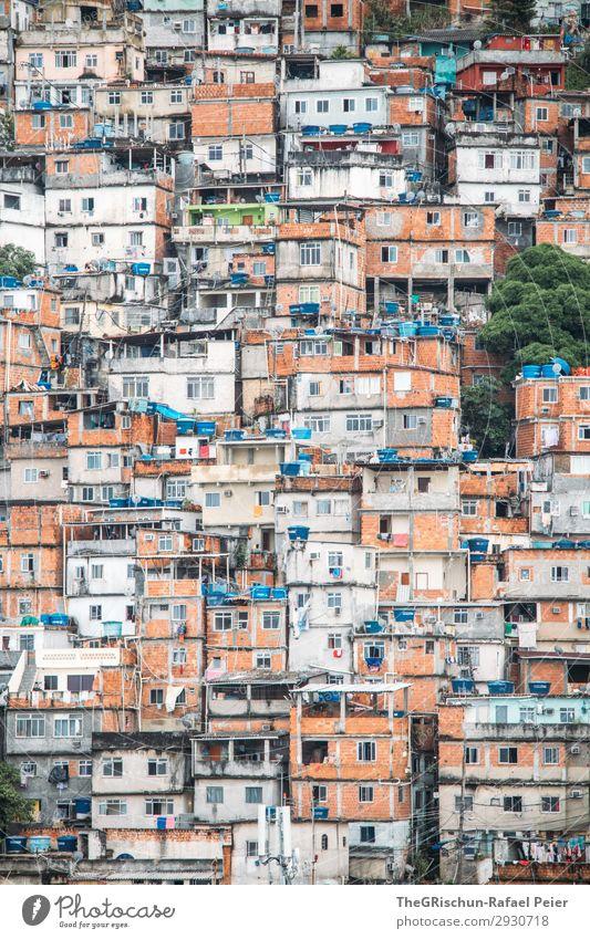 favela Town House (Residential Structure) Hut Blue Brown Gray Orange White Ghetto Brick Rio de Janeiro Brazil Water tank Together Narrow Poverty Colour photo