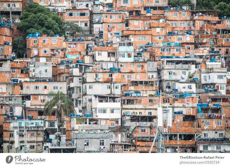 favela Town Blue Brown Gray Orange Black White Township Brazil Rio de Janeiro House (Residential Structure) Window Door Poverty Arm Colour photo Deserted Day