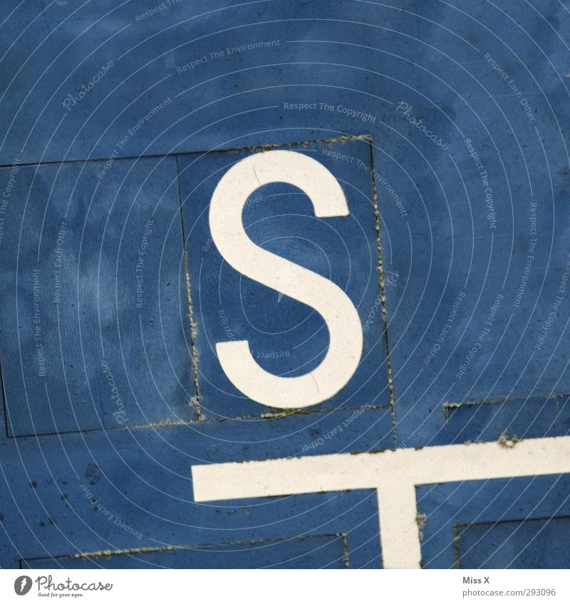 S Sign Characters Signs and labeling Blue Colour photo Close-up