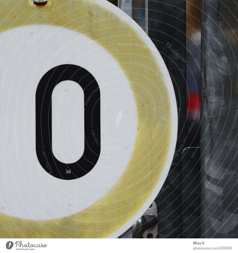 O Sign Characters Signs and labeling Signage Warning sign Road sign Brown Gray Colour photo Exterior shot Close-up Detail