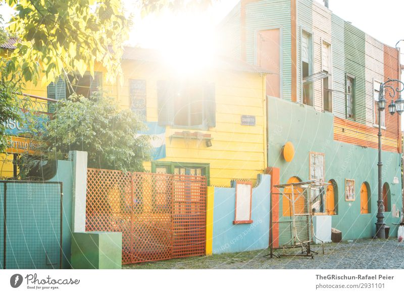 La Boca Town Blue Multicoloured Yellow Green White House (Residential Structure) Back-light Tree Sunset Quarter Tourism Argentina Buenos Aires Colour photo