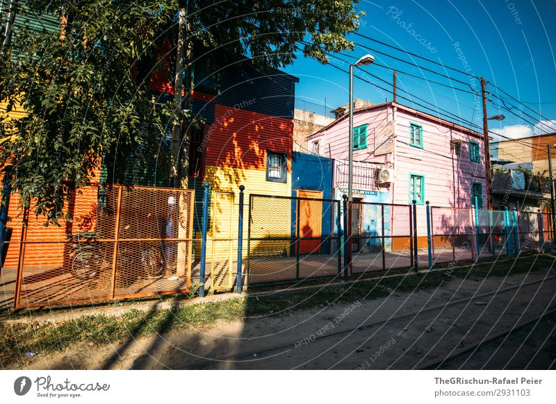 La Boca Town Blue Multicoloured Yellow Violet Orange Red White House (Residential Structure) Quarter Tourism Sky Argentina Buenos Aires Colour photo
