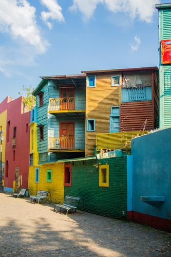 La Boca Town Capital city Blue Multicoloured Yellow Gray Green Black White Buenos Aires South America Argentina House (Residential Structure) Window Clouds