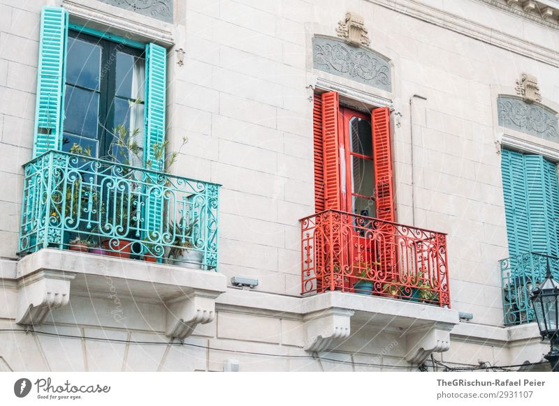 Colourful Town Red Turquoise White Balcony La Boca Multicoloured Art House (Residential Structure) Quarter Argentina Buenos Aires Colour photo Deserted Day