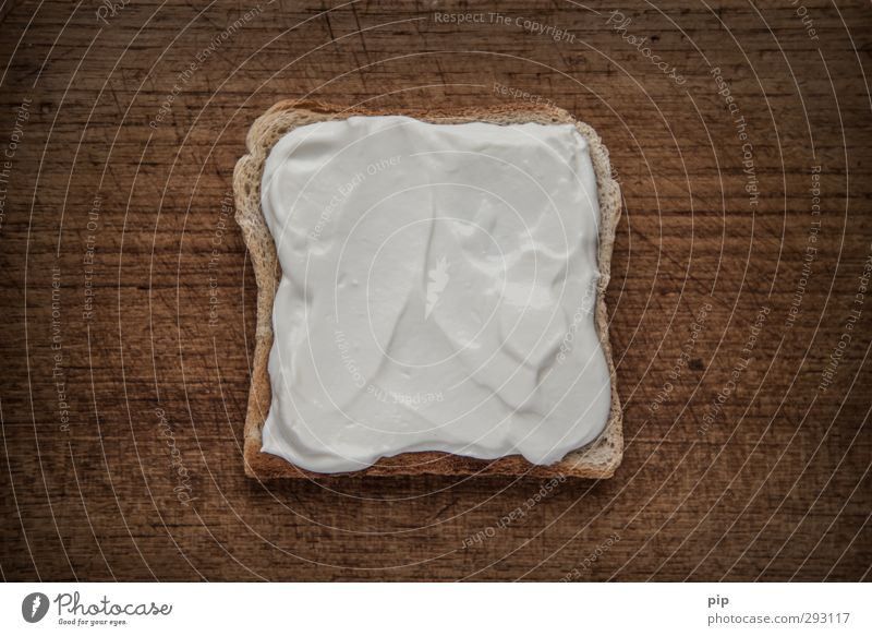 quarkquadrat Bread Toast Slice of bread tin loaf Skimmed milk Cream cheese pot Chopping board Dark Delicious Brown White Nutrition Food photograph