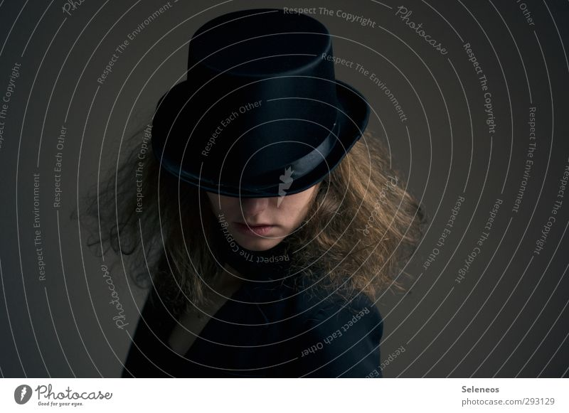 milliners Night life Entertainment Going out Carnival Human being Feminine Woman Adults Hair and hairstyles 1 Fashion Clothing Suit Top hat Dark Concealed