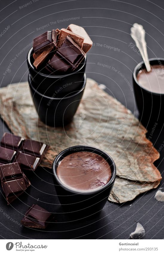 hot chocolate Food Candy Chocolate Nutrition To have a coffee Beverage Hot drink Hot Chocolate Mug Delicious Sweet Brown Black Broken chocolate Chocolate brown