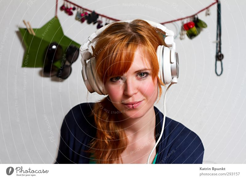 I Wonder Who Is Like This One Human being Feminine Young woman Youth (Young adults) 1 18 - 30 years Adults Accessory Piercing Red-haired Headphones