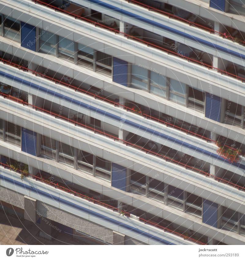 City Summer Flower Window Building Line Facade Arrangement Living or residing Modern Perspective Closed Concrete Simple Stripe Level