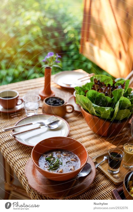 Healthy eating style, breakfast with delicious vegetables Vegetable Fruit Herbs and spices Breakfast Coffee Plate Lifestyle Wellness Summer Chair Table Nature