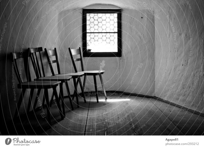 tower room Row of chairs Group of chairs Chair View from a window Window Creepy Historic Cold Black & white photo Interior shot Deserted Day Light Shadow