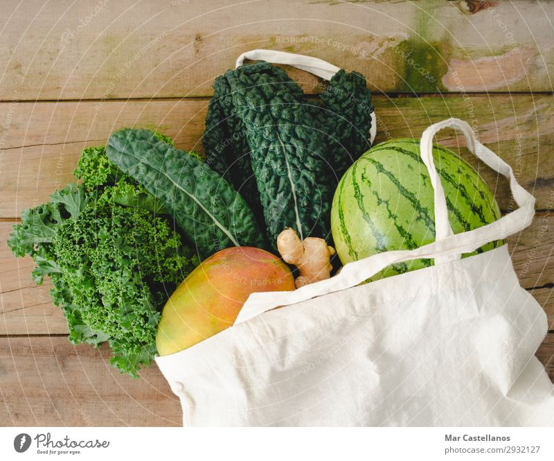 Cloth bag with vegetables on wooden background. Summer Green White Leaf Lifestyle Natural Health care Brown Fruit Nutrition Sweet Fresh Table Delicious Kitchen
