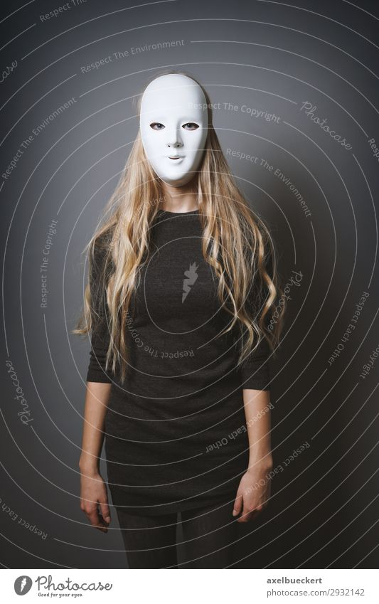 mysterious woman with mask Carnival Hallowe'en Human being Feminine Young woman Youth (Young adults) Woman Adults 1 18 - 30 years Stage play Actor Blonde