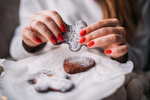 woman baking ginger bread for christmas Dessert Winter Decoration Feasts & Celebrations Christmas & Advent Human being Woman Adults Hand New Brown cooking