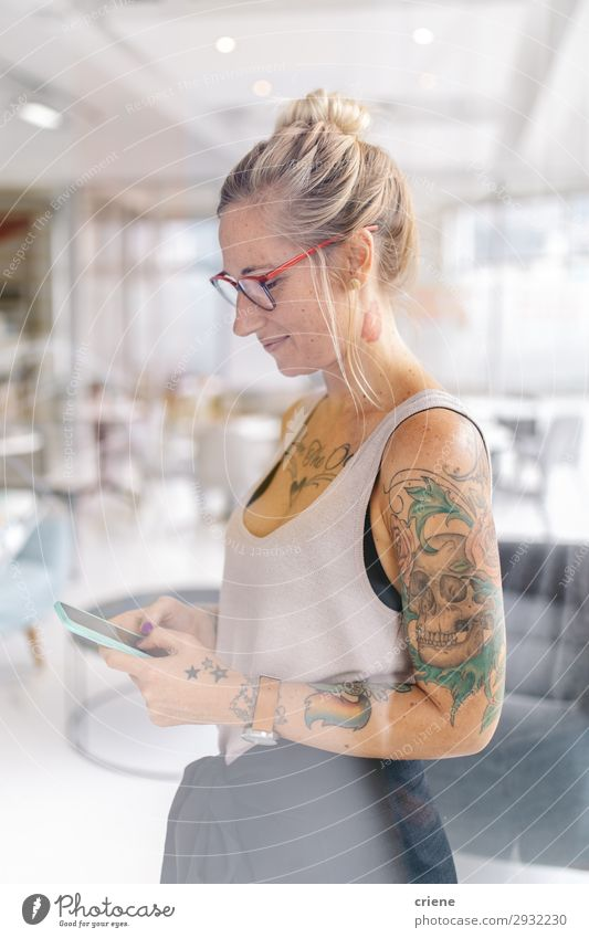 young caucasian business woman texting a message on smartphone Lifestyle Happy Beautiful Work and employment Office Business Company Telephone PDA Human being