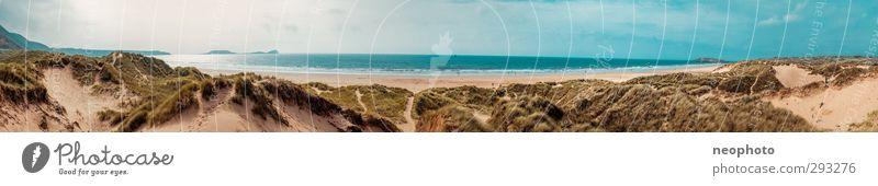 Wales Nature Landscape Sand Water Sky Horizon Sun Sunlight Waves Coast Beach Bay Ocean Atlantic Ocean Adventure Freedom Joy Infinity Beach dune Marram grass