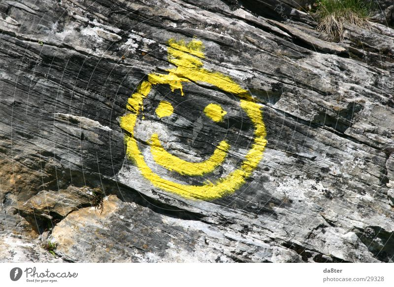 stone smiley Wall of rock Yellow Smiley Spray Stone Rock