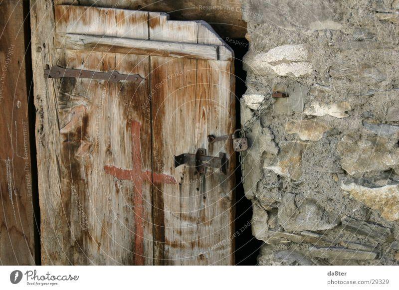 Wood Stone Door Castle Derelict Historic Chain Wooden board Lock Locking bar Hinge Stone wall Wooden door Padlock