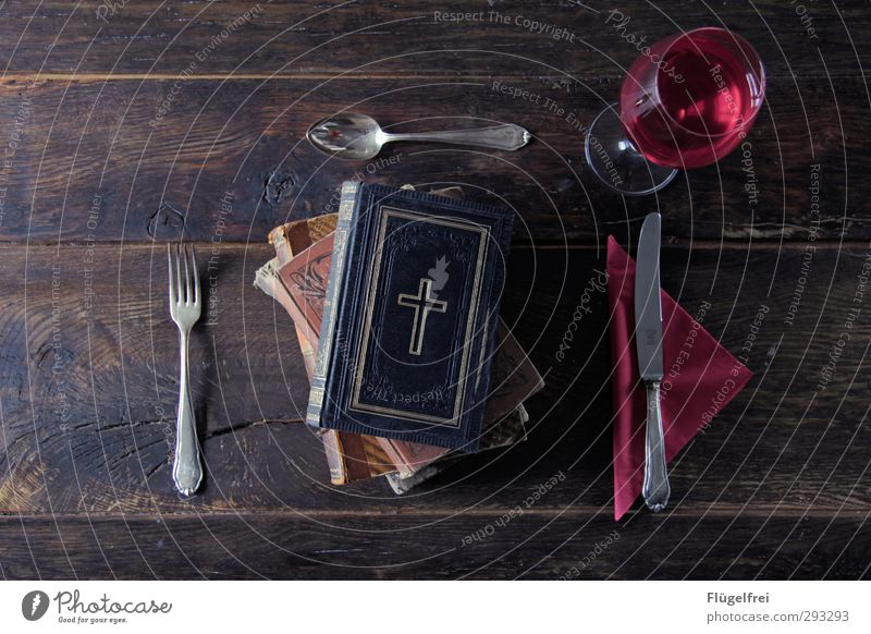 Old Wood Religion and faith Healthy Eating Book Table Wine Belief Crucifix Knives Stack Ancient Fork Spoon Catholicism Set meal