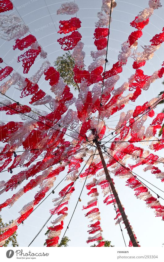 Party! Freedom Summer Feasts & Celebrations Playing Happy Funny Red White Decoration Flag Net Sky Ceiling Paper Fairy lights Light Summerfest Colour photo