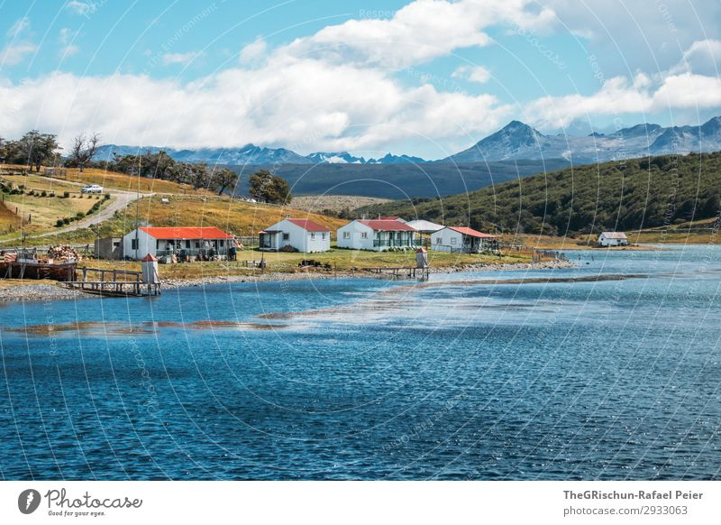 ushuaia Nature Landscape Blue Orange Red White Harberton South America Argentina House (Residential Structure) Bay Ocean Travel photography Rough Wind Cold