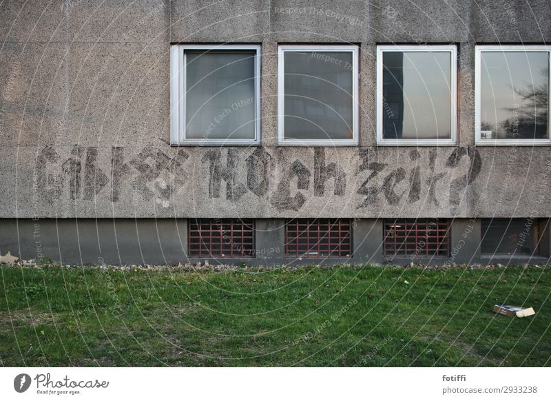 Window Life Graffiti Wall (building) Love Lanes & trails Happy Building Wall (barrier) Facade Gray Characters Gloomy Empty Academic studies Information
