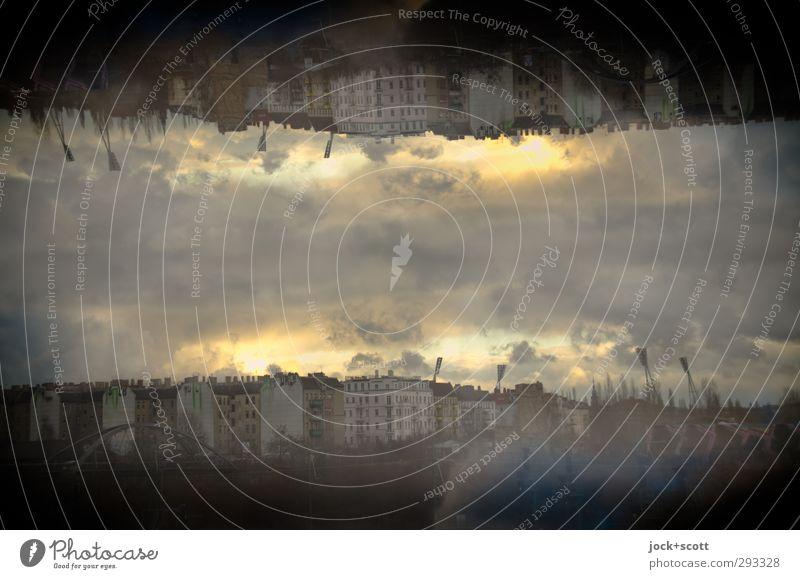tautologous Sightseeing Sky Clouds Autumn Prenzlauer Berg Town house (City: Block of flats) Quarter Illuminate Dark Fantastic Under Moody Truth Flexible