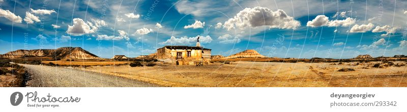 Little House on the Prairie panoramic image Sky Nature Blue Old White Landscape Clouds House (Residential Structure) Sadness Architecture Building Small Stone