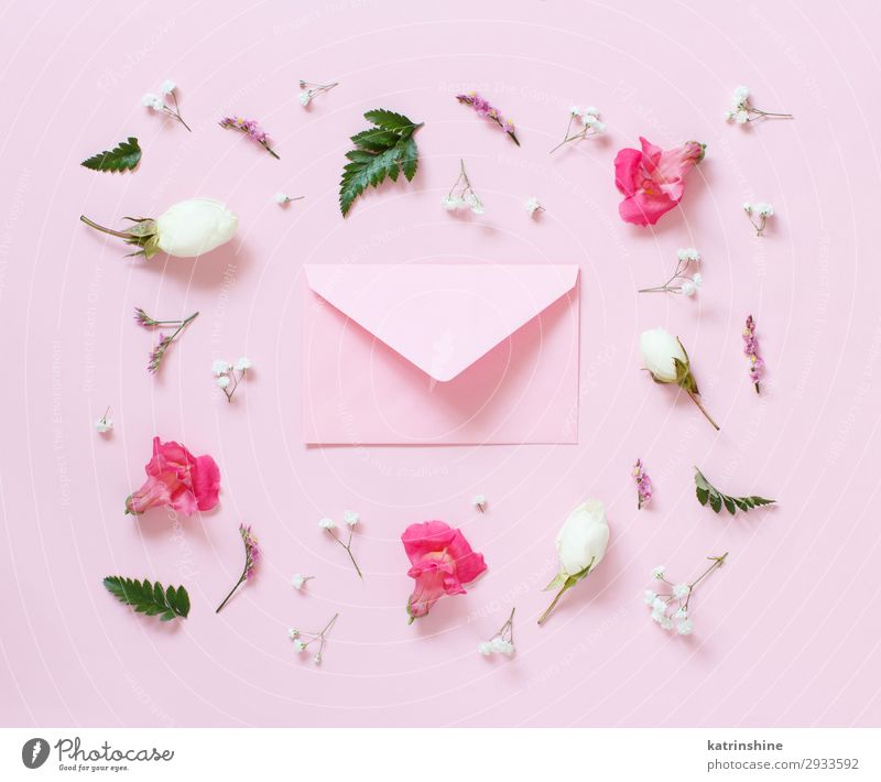 Flowers and envelope on a light pink background Design Decoration Wedding Woman Adults Mother Rose Above Creativity romantic letter Invitation flat lay