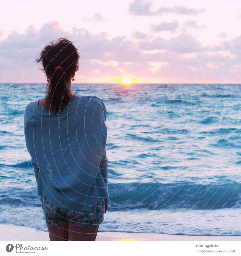 Human being Sky Youth (Young adults) Blue Vacation & Travel Summer Ocean Clouds Beach Calm Young woman Adults Far-off places Feminine 18 - 30 years Orange