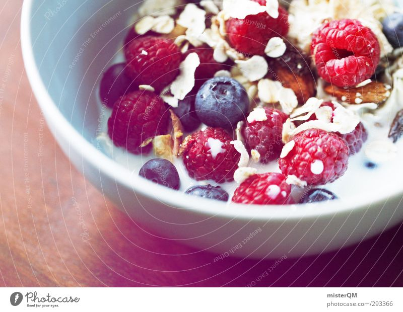 Healthy Eating Art Contentment Fresh Esthetic Delicious Breakfast Bowl Vegetarian diet Milk Blueberry Raspberry Vitamin-rich Cereal Multicoloured Break