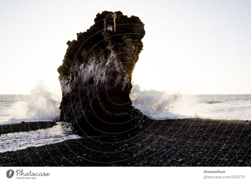Rock in the surf Vacation & Travel Far-off places Summer Summer vacation Sun Beach Ocean Island Waves Elements Earth Air Water Cloudless sky Horizon Coast Stone