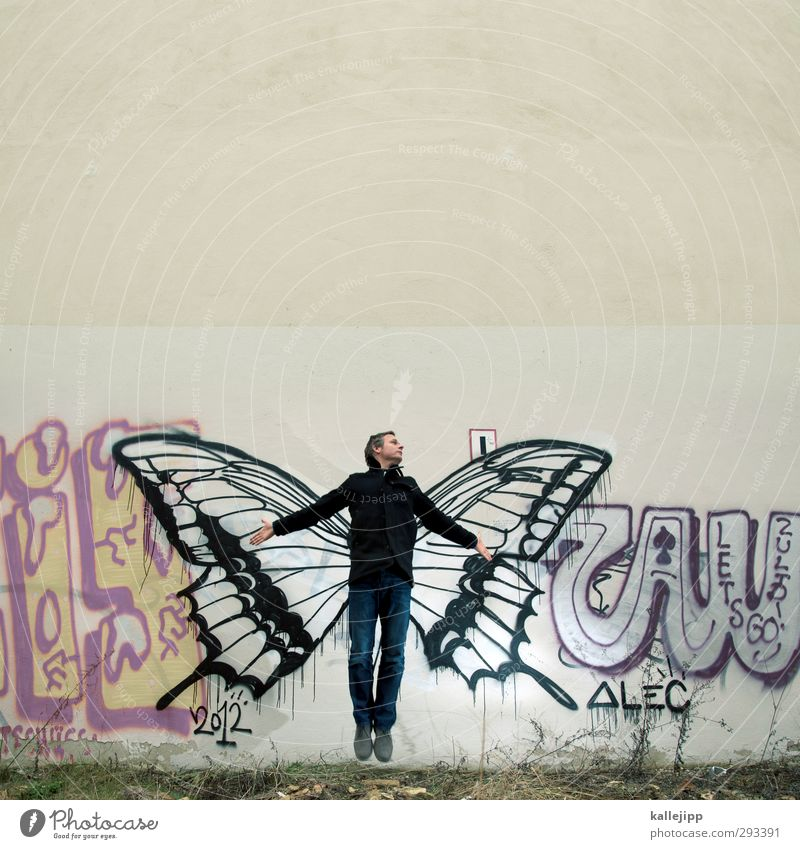 Human being Nature Man Animal Adults Graffiti Wall (building) Freedom Jump Art Body Masculine Fly Beginning Wing