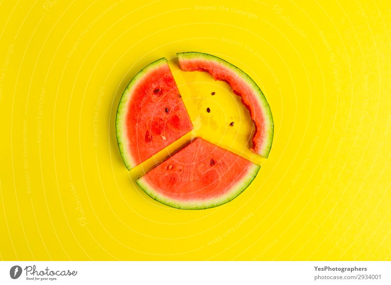 Flat lay image with slices of red watermelon Fruit Dessert Nutrition Eating Vegetarian diet Diet Healthy Eating Summer Fresh Delicious Juicy Yellow Green Red