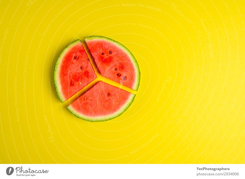 Sliced melon on the yellow table. Flat lay image Healthy Eating Summer Green Red Yellow Copy Space Fruit Nutrition Fresh Delicious Symbols and metaphors Dessert