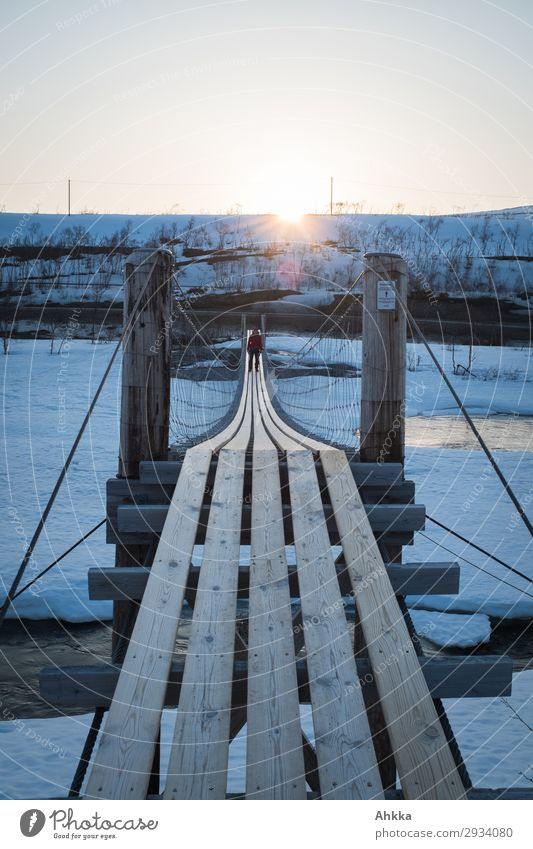 exit Adventure Freedom 1 Human being Sun Sunrise Sunset Winter Ice Frost River Norway Bridge Wood Success Brave Passion Stress Resolve Contentment Horizon Idea