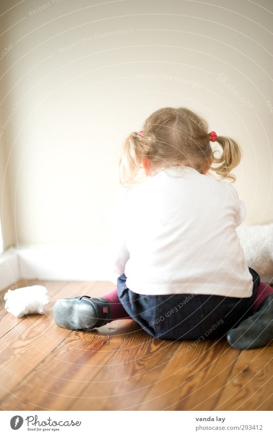 nursery Playing Human being Child Toddler Girl Infancy Back 1 1 - 3 years Blonde Curl Braids Anger White Sadness Argument Concentrate Colour photo Interior shot