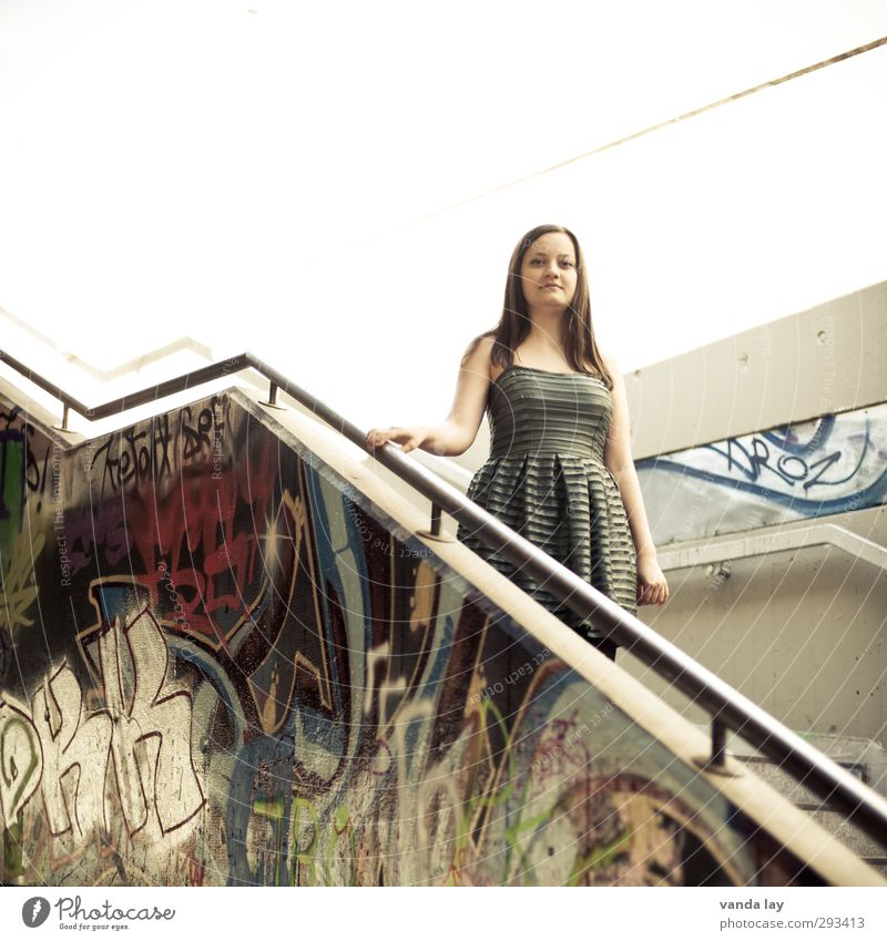 Human being Woman Youth (Young adults) Beautiful City Young woman House (Residential Structure) Adults Graffiti Wall (building) Wall (barrier) Facade Stairs