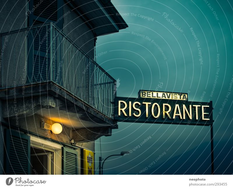Blue House (Residential Structure) Yellow Window Dark Door Facade Europe Roof Romance Vantage point Italy Longing Balcony Restaurant Italian Food