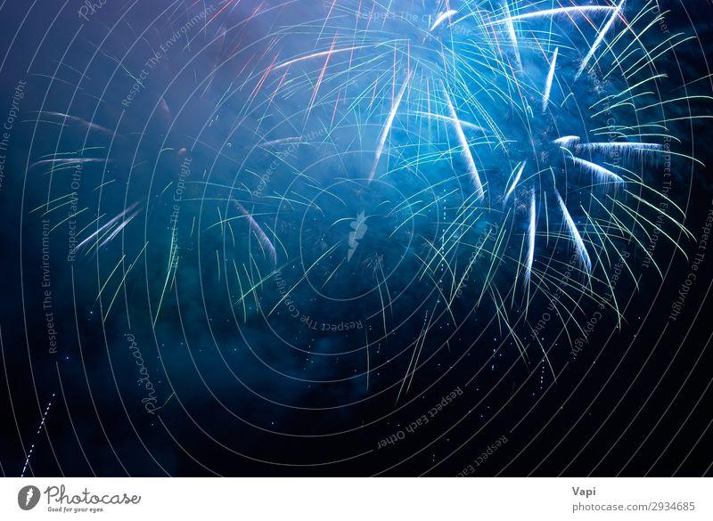 Blue holiday fireworks Joy Happy Beautiful Night life Entertainment Feasts & Celebrations Christmas & Advent New Year's Eve Sky Night sky Dark Bright