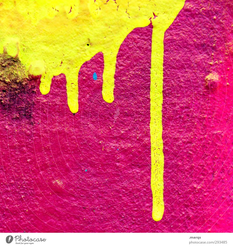 solvent Lifestyle Style Design Painter Wall (barrier) Wall (building) Graffiti Illuminate Cool (slang) Fluid Hip & trendy Uniqueness Retro Crazy Yellow Pink