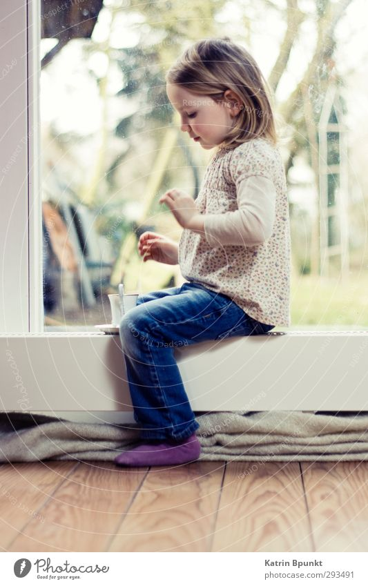 tea time Tea Cup Playing Living room Human being Child Infancy 1 3 - 8 years Blonde Sit Bright Cute Colour photo Interior shot Copy Space bottom Full-length