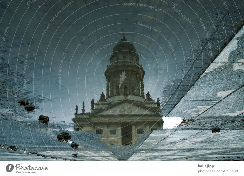 water features Town Capital city Church Dome Manmade structures Building Architecture Tourist Attraction Culture Art Gendarmenmarkt Berlin Puddle Weather