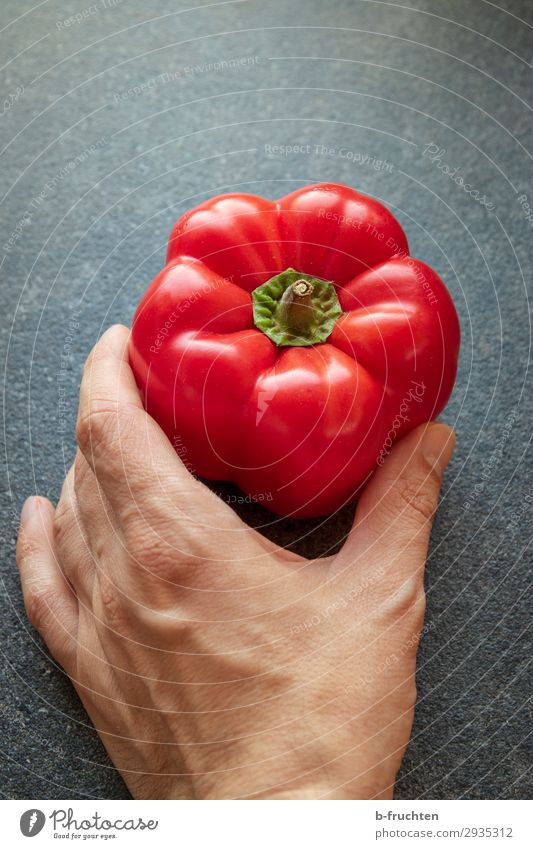 Here's a red pepper. Food Vegetable Nutrition Organic produce Vegetarian diet Healthy Eating Cook Kitchen Hand Fingers Work and employment Select To hold on