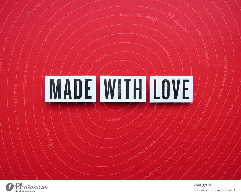 Made with Love Characters Signs and labeling Communicate Make Red Black White Emotions Happy Safety (feeling of) Together Eroticism Desire Lust Sex Sexuality