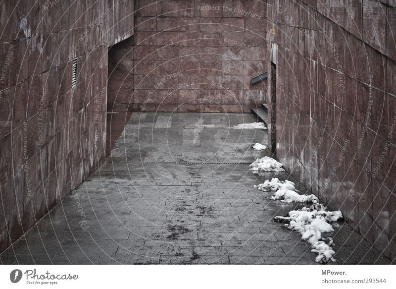 urban underground Town Downtown Tunnel Gate Architecture Traffic infrastructure Pedestrian Lanes & trails Road junction Hideous Trashy Gloomy Gray Red Sludgy