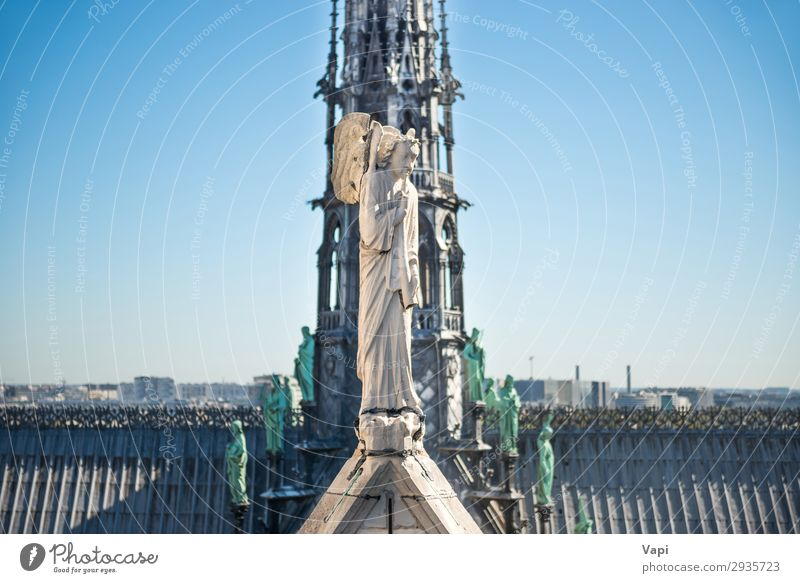 Statues at roof of Notre-Dame de Paris Sky Vacation & Travel Blue Town Green White Architecture Religion and faith Building Art Tourism Stone Gray Trip