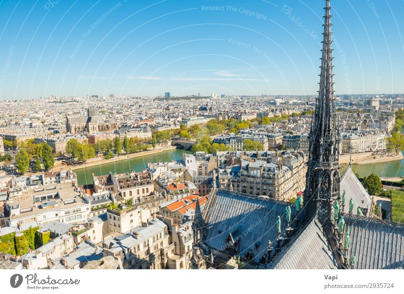 Paris cityscape with aerial architecture Sky Vacation & Travel Summer Blue Town Beautiful Green White Landscape Far-off places Black Street Architecture Autumn
